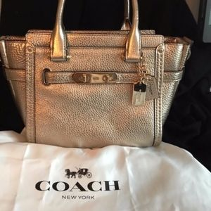 "Coach metalic gold 27"" satchel"